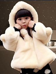 Girls' Solid Trench Coat,Cotton Rayon Fox Fur Fall Winter Long Sleeve