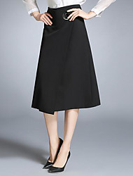 Women's Going out Midi Skirts A Line Solid Spring