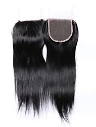 cheap -12 Inches Grade 8A 4x4 Lace Top Closure 100% Brazilian Human Hair 3 Part/Middle Part/Free Part #1B Natural Black Straight Hair Closure 1 Pcs