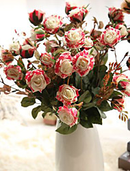 Artificial Flowers Moisturizing Feel Roses Home Decorations 5 Branch