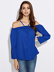 Women's Going out Beach Holiday Sexy Cute Street chic Summer Shirt,Solid Boat Neck Long Sleeves Others Opaque