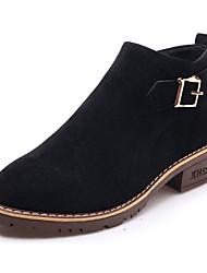 Недорогие -Для женщин Обувь Бархатистая отделка Полиуретан Осень Удобная обувь Модная обувь Ботинки Блочная пятка Круглый носок Ботинки Сапоги до