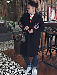 cheap -Men's Long Trench Coat Print / Long Sleeve