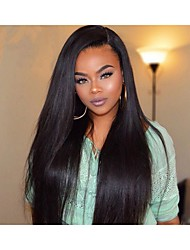 cheap -Women Human Hair Lace Wig Brazilian Human Hair 360 Frontal 130% Density With Baby Hair 360° Frontal Yaki Wig Black Short Medium Long For
