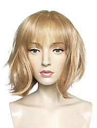 cheap -Synthetic Wig Straight Blonde Bob Haircut Synthetic Hair Blonde Wig Women's Short Capless Light Blonde