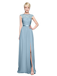 cheap -A-Line Bateau Neck Floor Length Chiffon Lace Bridesmaid Dress with Appliques Pleats by LAN TING BRIDE®