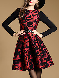Trapèze Robe Femme Sortie Chic de Rue,Imprimé Mosaïque Col Arrondi Mini Manches Longues Polyester Automne Taille Normale Non Elastique