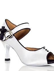 """Women's Latin Silk Sandal Performance Buttons Cuban Heel Blushing Pink White 2"""" - 2 3/4"""" 3"""" - 3 3/4"""" Customizable"""