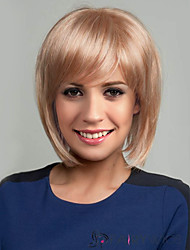 Women Human Hair Capless Wigs Medium Auburn/Bleach Blonde Yellow Medium Auburn Black Medium Length Straight Side Part