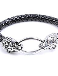 cheap -Men's Leather Bracelet Animal Design Punk Leather Alloy Round Leopard Jewelry For Halloween Street