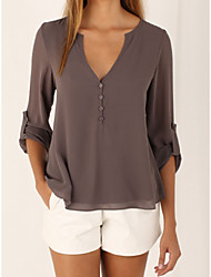 cheap -Women's Going out Casual Summer Blouse,Solid Deep V Half Sleeves Polyester Medium