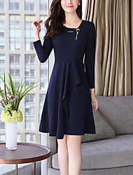 Women's Plus Size Going out Street chic Bodycon Dress,Solid Round Neck Knee-length Long Sleeves Polyester Spandex Fall Mid Rise