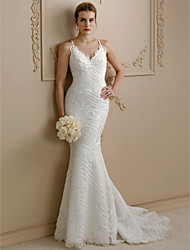 cheap -Mermaid / Trumpet Spaghetti Straps Sweep / Brush Train Lace Wedding Dress with Appliques Buttons by LAN TING BRIDE®