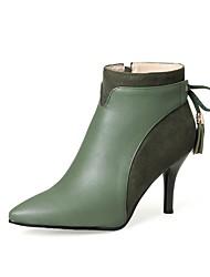 Feminino Sapatos Courino Outono Inverno Botas da Moda Botas Salto Agulha Dedo Apontado Botas Curtas / Ankle Para Festas & Noite Preto