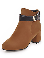Women's Shoes Nubuck leather Leatherette Fall Winter Fashion Boots Bootie Boots Chunky Heel Round Toe Booties/Ankle Boots Buckle For