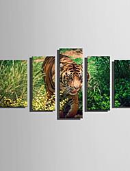 abordables -Toile Cinq Panneaux Toile Format Vertical Imprimé Décoration murale Décoration d'intérieur