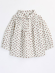 cheap -Girls' Floral Blouse,Cotton Fall Long Sleeve Floral White