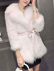 Feminino Casaco de Pêlo Casual Simples Inverno,Sólido Padrão Pêlo Sintético Lapela Xale Manga Longa Detalhes em Pêlo