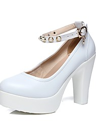Women's Heels Basic Pump Spring Fall Synthetic Microfiber PU Party & Evening Dress Imitation Pearl Buckle Platform White 4in-4 3/4in