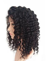 abordables -Cabello humano Encaje Frontal Peluca Cabello Brasileño Kinky Curly Peluca 130% Peluca afroamericana / Atado 100 % a mano Mujer Media Pelucas de Cabello Natural / Kinky rizado