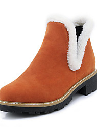 Women's Shoes Leatherette Fall Winter Fashion Boots Boots Chunky Heel Round Toe Booties/Ankle Boots Split Joint For Casual Dress Orange