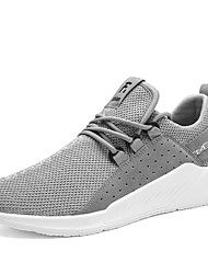 cheap -Men's Athletic Shoes Comfort Fall Winter Breathable Mesh Fabric Walking Shoes Casual Outdoor Lace-up Khaki Blue Gray Black Flat
