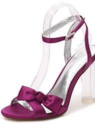 cheap -Women's Satin Spring / Summer Basic Pump / Ankle Strap / Transparent Shoes Sandals Chunky Heel / Translucent Heel / Crystal Heel Round Toe Rhinestone / Bowknot / Satin Flower Red / Royal Blue