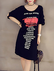 Women's Plus Size Going out Casual/Daily Simple Street chic A Line Dress,Print Letter Off Shoulder Maxi Short Sleeves Cotton Summer Fall