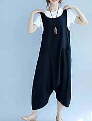 Da donna A vita medio-alta Moda città Media elasticità Tuta da lavoro Pantaloni,Largo Tinta unita