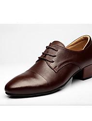 Для мужчин Латина Натуральная кожа Оксфорды Для открытой площадки Планка На толстом каблуке Темно-коричневый 3 см