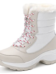 cheap -Women's Shoes PU Winter Snow Boots Boots Flat Heel Round Toe Lace-up For Casual Red Beige Black