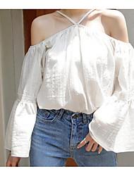 Damen Solide Einfach Lässig/Alltäglich Bluse,Schulterfrei Langarm Polyester