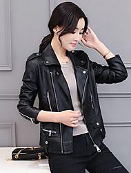 Feminino Jaquetas de Couro Casual Trabalho Simples Outono Inverno,Sólido Curto Poliuretano Colarinho de Camisa Manga Longa