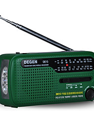DE13 Portable Radio Solar Power FlashLight Green