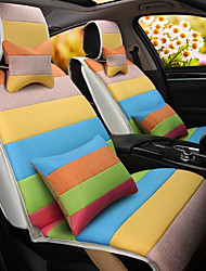 cheap -A Rainbow Cartoon Car Cushion Linen Cushion Seat Cover Seat Four Seasons General All Around Whole Linen -3#
