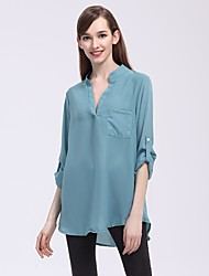 Women's Going out Casual Blouse,Solid Deep V Half Sleeves Nylon