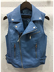 Women's Going out Casual/Daily Simple Street chic Spring Fall Vest,Solid Notch Lapel Sleeveless Regular Others