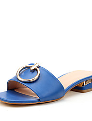 Women's Sandals Toe Ring Summer Fall Leatherette Casual Office & Career Buckle Low Heel Light Blue Black White Under 1in