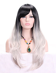 cheap -Women Synthetic Wig Capless Long Wavy Black/Grey Ombre Hair Dark Roots With Bangs Cosplay Wig Costume Wig