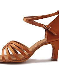 "Women's Latin Satin Sandal Heel Beginner Buckle Rattan Cuban Heel Brown 1"" - 1 3/4"" Customizable"