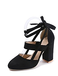 Women's Shoes Suede Summer Comfort Heels Chunky Heel Round Toe Bowknot For Dress Blushing Pink Brown Black