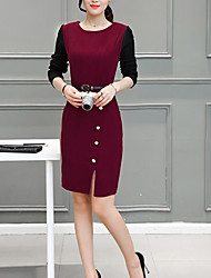 Women's Going out Casual/Daily Work Simple Street chic Sophisticated Sheath Dress,Patchwork Round Neck Above Knee Long Sleeves Others