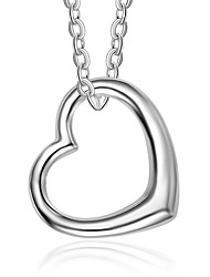 cheap -Women's Heart Chrismas Pendant Necklace Sterling Silver Pendant Necklace , Daily