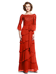 cheap -A-Line Bateau Neck Ankle Length Chiffon / Lace Mother of the Bride Dress with Sequin / Appliques / Sash / Ribbon by LAN TING BRIDE® / Bell Sleeve