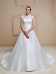 cheap -A-Line Illusion Neckline Chapel Train Lace Satin Wedding Dress with Appliques Buttons Sashes/ Ribbons by LAN TING BRIDE®