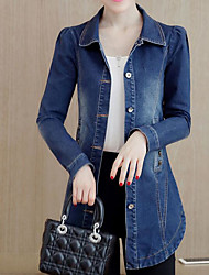 cheap -Women's Daily Simple Casual Winter Fall Denim Jacket,Solid Shirt Collar Long Sleeve Long Polyester
