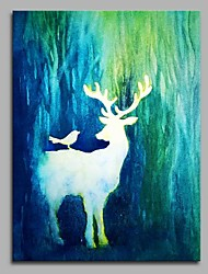 Hand-Painted Animal Vertical,Artistic Nature Inspired Anime Pastoral Modern/Contemporary Office/Business Christmas New Year's One Panel