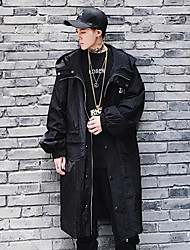Men's Daily Sports Going out Simple Casual Active Street chic Spring Fall Trench Coat,Solid Hooded Long Sleeve Long Polyester Spandex