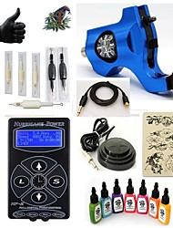 starter tattoo kits 1 rotary machine liner & shader LED power supply 5 x tattoo needle RL 3 Complete Kit