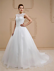 cheap -Ball Gown Illusion Neckline Chapel Train Lace Organza Wedding Dress with Beading Buttons by LAN TING BRIDE®